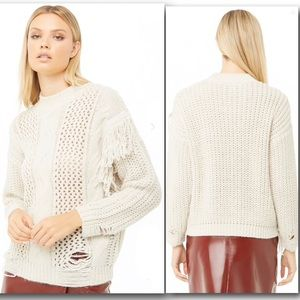 Forever 21 Fringe-Trim Mixed-Knit Sweater Distress
